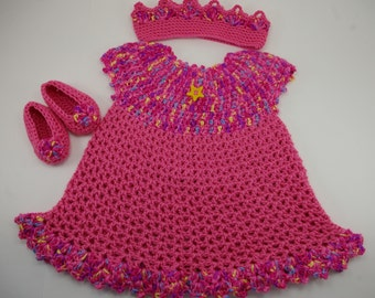 Pink Baby Dress , Baby Dress with Headband and Slippers,  Pink Little Sweetie Dress
