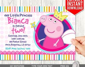 Peppa Pig Invitation Instant Download, Princess Peppa Pig Invites, Peppa Pig Birthday Invitation