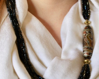 Hand Crafted Necklace with African Trade Bead, Brass Findings & Tube Beads