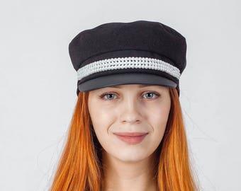women newsboy cap in black with beads fiddler cap women cabbie hat   baker cap for women  greek fisherman cap  fiddler hat   captains caps