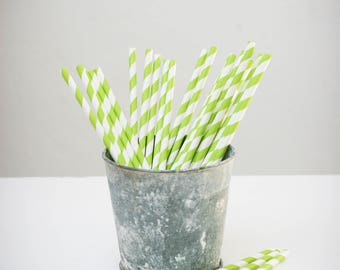 25 paper straws paper (white with green stripes)
