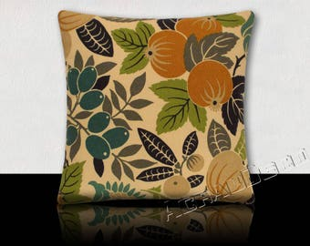 Pillow-gift idea pattern design tropical fruit and flowers-yellow/green/taupe/gray/turquoise/Navy on ivory background.