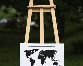 world map - Black vinyl on poster paper (2 sizes offered, on paper or textured paper) - House decor for travelers