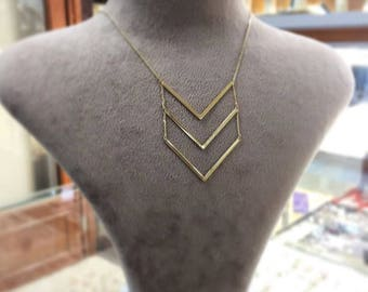 Hand-made Gold Arrow Stack Necklace Available in 14k Gold, White Gold or Rose Gold