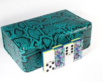 Elucidation in Purple No. 7 by Jackson Pollok Jumbo Domino Double Six, 5 Coats 100% Acrylic. Deluxe Leather Case