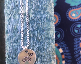 Cute Bike & Heart Pendant Necklace