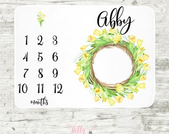 Yellow Tulip Wreath Milestone Blanket, Month Baby Blanket, Personalized Baby Blankie, Baby Girl Blanket, Monthly Blanket, Spring Blanket