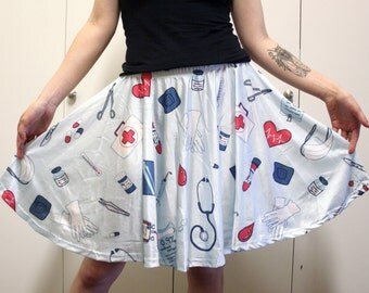 Good Medicine Skater Skirt - Medical / Hospital / Nurse / Doctor Pattern on a Blue Skirt - One Size and Plus Size
