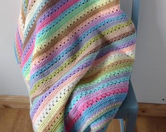 Pastel Stripe Crochet Blanket