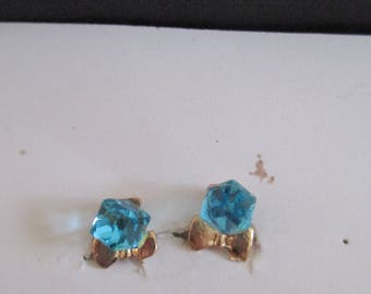 gilded with imitation blue stone Crystal Stud Earrings