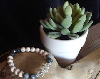 Stretch Diffuser Bracelet: Jasper, Howlite and Crystal.