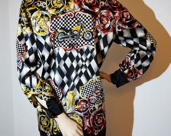 ESCADA VINTAGE baroque pattern silk Blouse