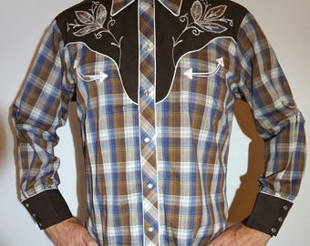 California Ranchwear Vintage Western Cowboy Men's Long Tail Shirt, blue-white-brown plaid flower embroiderey, Size Large (see meas.)