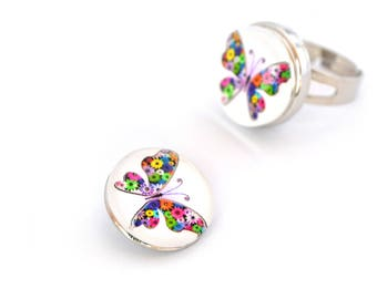 Snap chunk multicolore18 White Butterfly mm cabochon