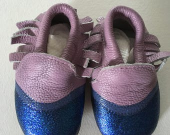 so soft leather liv&leo baby shoes.. color creation blue sparkle  new sizes 6-12 mo, 12-18mo