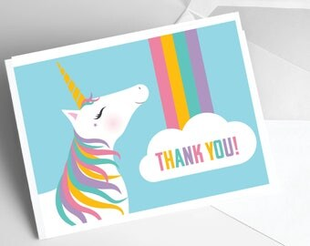 Unicorn and Rainbow Thank You Cards / Unique Note Cards / Thank You Notes / Unicorn Thank You Cards / Sets of 10