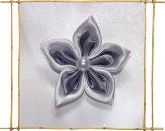 Purple and white satin kansashi flower