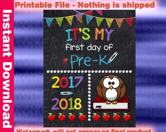 Pre-K sign, First Day Of School Sign, Printable Back To School Sign, Pre-K Chalkboard Sign, Back To School Chalkboard, Pre-k Poster Boy Girl
