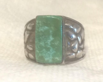 Vintage Sterling Silver Southwest Tribal Turquoise Ring  Size 9  10g  Men