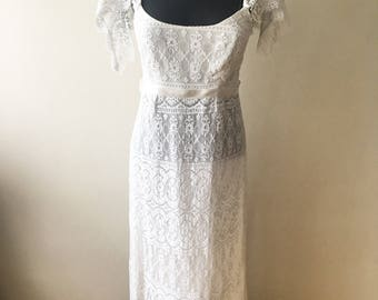 1960s bohemian wedding dress, boho wedding, beach wedding dress