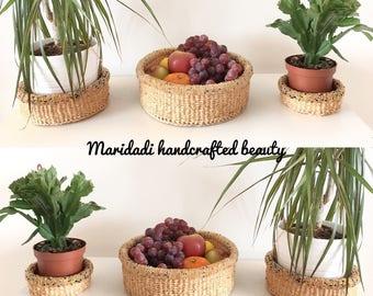 Trio natural handwoven sisal and beaded basket set