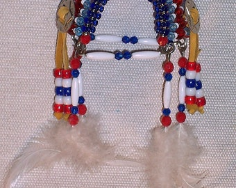 Native American Safety Pin Headdress ( Red, White & Blue )