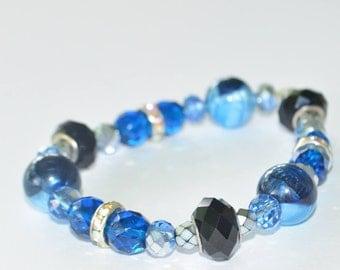 Neptune Beauty Bracelet- Blue stretch bracelet- sparkly blue bracelet