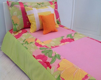 18 inch doll bedding/Wild Peony and Lime green cotton - 4 piece set