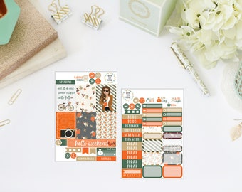 25% OFF SALE (no coupon needed) - Fall For You Tiny Kit - Vertical Planner Sticker (Weekly Sticker Kit) - For Use With Erin Condren LP