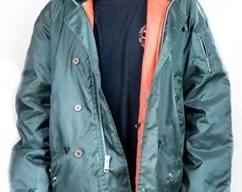 Puffy Green Jacket with Orange Lining