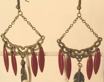 Brick red sequins and bronze feather earrings