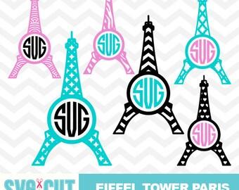 Eiffel Tower SVG Cut File, Eiffel Tower Cut File, Eiffel Tower Monogram, Paris SVG Cut File for Cameo and Cricut, I Love Paris, svg-033