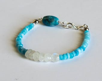 Apatite and moonstone stackable Bracelet