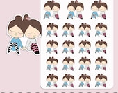 HARAJUKU PLANNER GIRL | Planner Stickers | Sisters | Friends | Family| Personalise | Erin Condren | S208