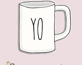 MUG Die Cut | RD Inspired | Yo | Coffee | Hand Drawn | Erin Condren | Tn | D120
