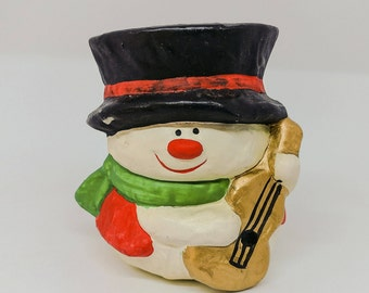 Vintage Snowman Candle Figurine Christmas Hanukkah Winter New Year's Collectibles Altered Repurposed Art Home Decor