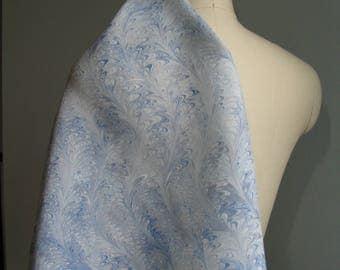 Marbled Silk Scarf, Blue Waved Icarus Pattern