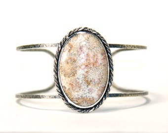 Cuff bracelet, fossil coral in sterling silver