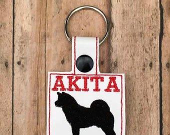 Akita Key Chain, Dog Key Fob
