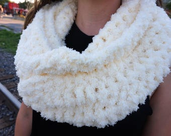 """Extremely Soft crocheted """"Marshmallow"""" Infinity scarf - handmade, perfect for a gift"""