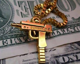 Gold Plated Supreme Uzi Chain | Pendant &  Free Necklace | 52 cm Hip Hop Chain | Free Sticker