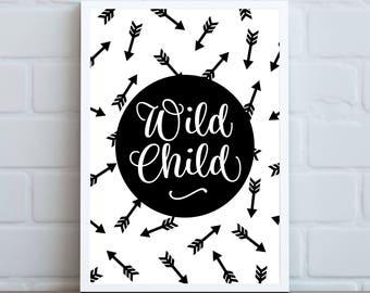 Wild Child  ||  Digital Print, Nursery, Nursery Art, Childs Room, Monochrome, Wild Child, Home Decor