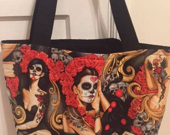 The World's Best Horror Tote Bag / Purse-Skull Day of the Dead Pin-up Print