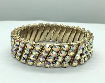 Vintage Japan Criterion Aurora Borealis Rhinestone Expansion Bracelet | Costume Jewelry | c. 1950