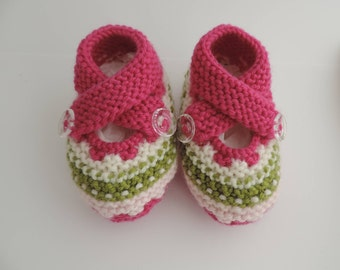 0-6 Month Criss Cross Knit Baby Booties