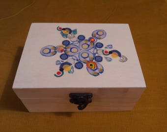 Box rectangular decorated with abstract patterns postage stamp