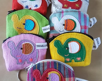 Handmade Cotton Elephant Pattern Small Coin Purse with Key Ring Pack of 7