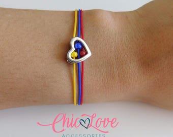 Pulsera de Colombia, Colombian Bracelet, Bracelet, Flag of Colombia Bracelet, Colombian Heart Bracelet.