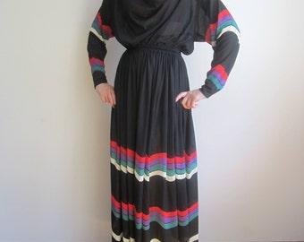vintage 70s striped maxi full length evening dress S M