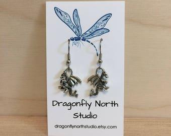 Dragon earrings - antiqued silver earrings
